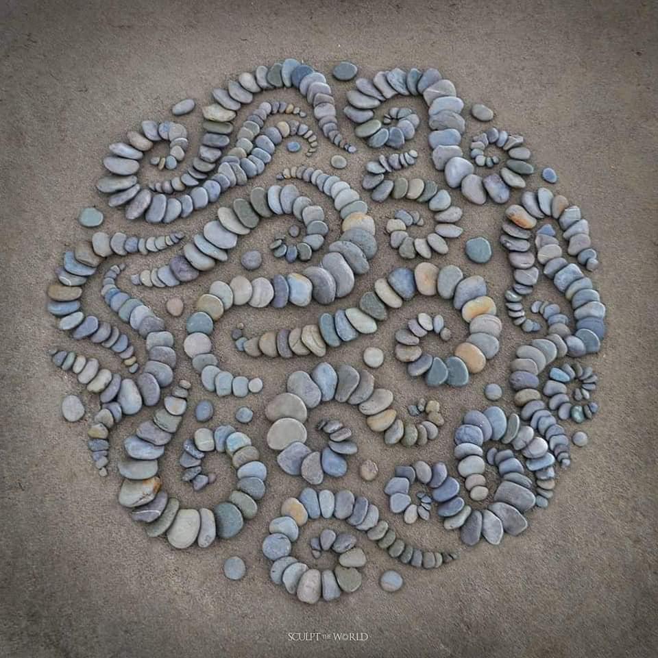 landart avec des pierres en cercle sur une plage